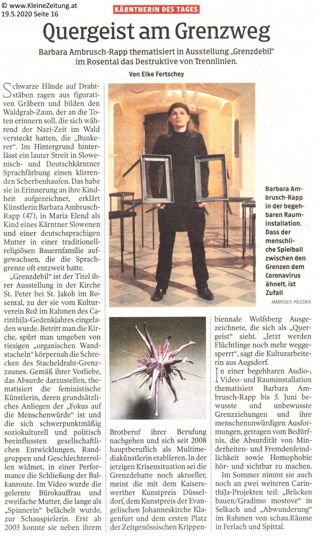 Kärntnerin des Tages, Barbara Ambrusch-Rapp, Kleine Zeitung 19.05.2020